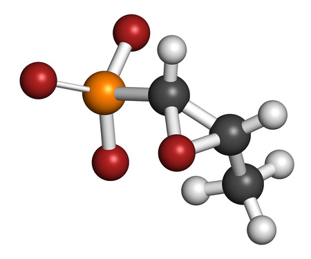antibacterial: Fosfomycin (phosphomycin, phosphonomycin) antibacterial drug molecule. Used in treatment of urinary tract infections. Atoms are represented as spheres with conventional color coding: hydrogen (white), carbon (grey), oxygen (red), phosphorus (orange).