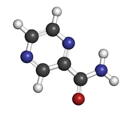generic medicine: Pyrazinamide tuberculosis drug molecule. Atoms are represented as spheres with conventional color coding: hydrogen (white), carbon (grey), oxygen (red), nitrogen (blue).