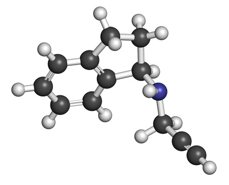 oxidase: Rasagiline Parkinsons disease drug molecule. Atoms are represented as spheres with conventional color coding: hydrogen (white), carbon (grey), nitrogen (blue).