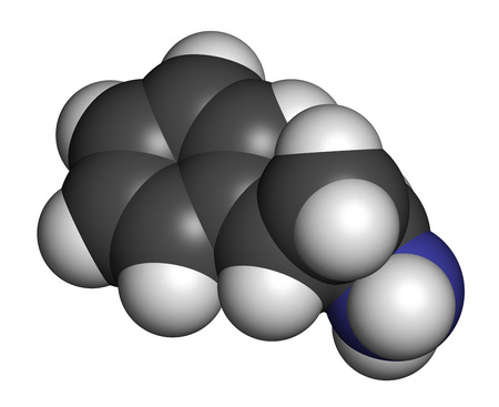 oxidase: Tranylcypromine antidepressant and anxiolytic drug molecule. Irreversible inhibitor of the enzyme monoamine oxidase (MAO). Atoms are represented as spheres with conventional color coding: hydrogen (white), carbon (grey), nitrogen (blue).