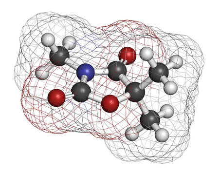 generic medicine: Trimethadione anticonvulsant drug molecule. Used in treatment of seizures. Atoms are represented as spheres with conventional color coding: hydrogen (white), carbon (grey), oxygen (red), nitrogen (blue). Stock Photo