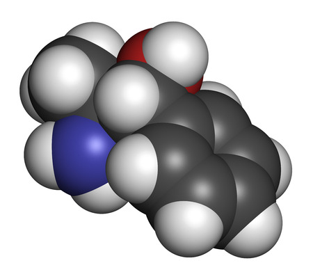 stimulant: Phenylpropanolamine (norephedrine, norpseudoephedrine, beta-hydroxyamphetamine) drug molecule. Used as stimulant, decongestant and anorectic agent. Atoms are represented as spheres with conventional color coding: hydrogen (white), carbon (grey), oxygen (r