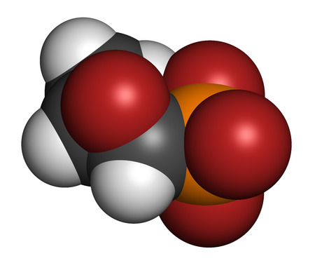 phosphorus: Fosfomycin (phosphomycin, phosphonomycin) antibacterial drug molecule. Used in treatment of urinary tract infections. Atoms are represented as spheres with conventional color coding: hydrogen (white), carbon (grey), oxygen (red), phosphorus (orange).