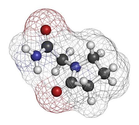 lucid: Piracetam nootropic drug molecule. Atoms are represented as spheres with conventional color coding: hydrogen (white), carbon (grey), oxygen (red), nitrogen (blue).