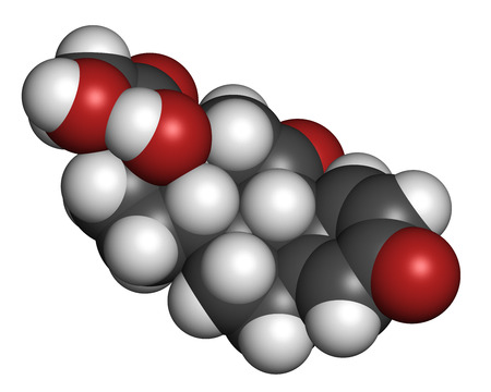 immunosuppressant: Prednisone corticosteroid drug molecule. Atoms are represented as spheres with conventional color coding: hydrogen (white), carbon (grey), oxygen (red). Stock Photo
