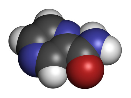 bacteriostatic: Pyrazinamide tuberculosis drug molecule. Atoms are represented as spheres with conventional color coding: hydrogen (white), carbon (grey), oxygen (red), nitrogen (blue).