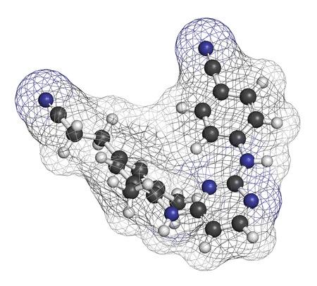 hidrogeno: Mol�cula Rilpivirina medicamento contra el VIH. Los �tomos se representan como esferas con codificaci�n de colores convencionales: hidr�geno (blanco), carb�n (gris), nitr�geno (azul).