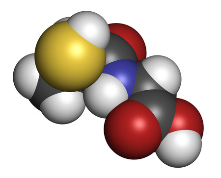 orphan: Tiopronin cystinuria drug molecule. Has orphan drug status.  Atoms are represented as spheres with conventional color coding: hydrogen (white), carbon (grey), oxygen (red), nitrogen (blue), sulfur (yellow).