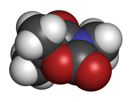 anticonvulsant: Trimethadione anticonvulsant drug molecule. Used in treatment of seizures. Atoms are represented as spheres with conventional color coding: hydrogen (white), carbon (grey), oxygen (red), nitrogen (blue). Stock Photo