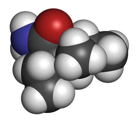 neuropathic: Valnoctamide sedative drug molecule. Atoms are represented as spheres with conventional color coding: hydrogen (white), carbon (grey), oxygen (red), nitrogen (blue).