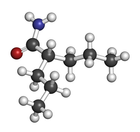 seizures: Valpromide seizures drug molecule (antiepileptic agent). Atoms are represented as spheres with conventional color coding: hydrogen (white), carbon (grey), oxygen (red), nitrogen (blue).