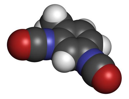 carcinogen: Diisocianato de tolueno (TDI, 2,4-TDI) mol�cula bloque de construcci�n de poliuretano. Puede ser un carcin�geno. Los �tomos se representan como esferas con codificaci�n de colores convencionales: hidr�geno (blanco), carb�n (gris), ox�geno (rojo), nitr�geno (azul).