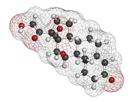 adrenal gland: Aldosterone mineralocorticoid hormone, produced by the adrenal gland. Atoms are represented as spheres with conventional color coding: hydrogen (white), carbon (grey), oxygen (red).