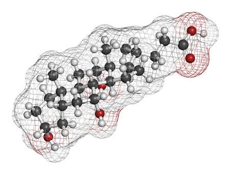 Bile acid (cholic acid, cholate) molecule. Cholic acid is the main bile acid in humans. Atoms are represented as spheres with conventional color coding: hydrogen (white), carbon (grey), oxygen (red).