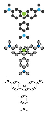 representations: Crystal (gentian) violet molecule. Dye used in Gram staining of bacteria. Conventional skeletal formula and stylized representations.