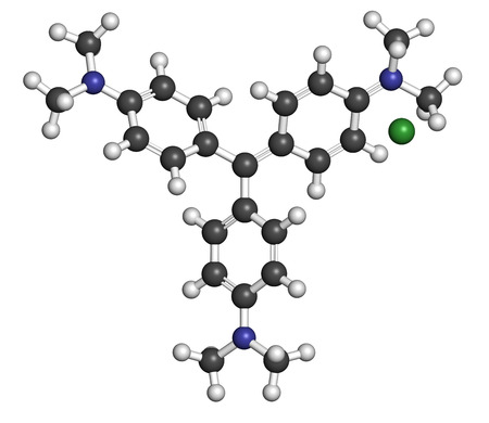 gram: Crystal (gentian) violet molecule. Dye used in Gram staining of bacteria. Atoms are represented as spheres with conventional color coding: hydrogen (white), carbon (grey), nitrogen (blue), chlorine (green). Stock Photo