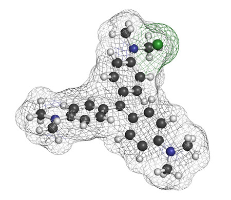 staining: Crystal (gentian) violet molecule. Dye used in Gram staining of bacteria. Atoms are represented as spheres with conventional color coding: hydrogen (white), carbon (grey), nitrogen (blue), chlorine (green). Stock Photo