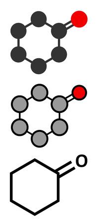 representations: Cyclohexanone organic solvent molecule. Precursor of nylon. Conventional skeletal formula and stylized representations.