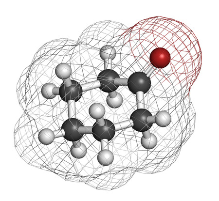 feedstock: Cyclohexanone organic solvent molecule. Precursor of nylon Atoms are represented as spheres with conventional color coding: hydrogen (white), carbon (grey), oxygen (red).