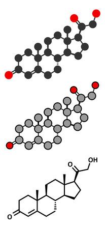 electrolyte: Deoxycorticosterone (DOC) mineralocorticoid hormone molecule. Precursor to aldosterone. Conventional skeletal formula and stylized representations. Stock Photo