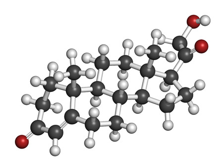 electrolyte: Deoxycorticosterone (DOC) mineralocorticoid hormone molecule. Precursor to aldosterone. Atoms are represented as spheres with conventional color coding: hydrogen (white), carbon (grey), oxygen (red). Stock Photo