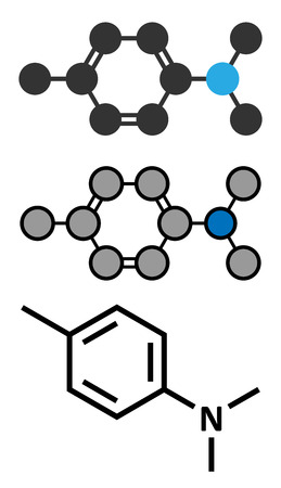 catalyst: N,N-dimethyl-p-toluidine (DMPT) molecule. Commonly used as catalyst in the production of polymers and in dental materials and bone cements. Conventional skeletal formula and stylized representations.