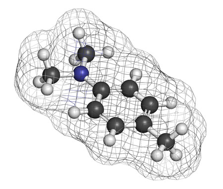 Catalyst: N,N-dimethyl-p-toluidine (DMPT) molecule. Commonly used as catalyst in the production of polymers and in dental materials and bone cements. Atoms are represented as spheres with conventional color coding: hydrogen (white), carbon (grey), oxygen (red), nit Stock Photo