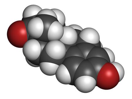 estrogen: Estrone (oestrone) human estrogen hormone molecule. Atoms are represented as spheres with conventional color coding: hydrogen (white), carbon (grey), oxygen (red).