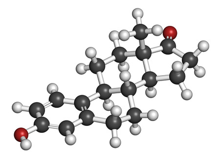 estrogen: Estrone (oestrone) human estrogen hormone molecule. Atoms are represented as spheres with conventional color coding: hydrogen (white), carbon (grey), oxygen (red).