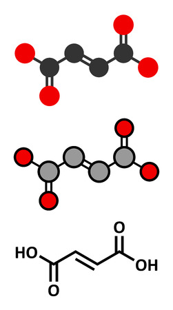 Fumaric acid molecule. Found in bolete mushrooms, lichen and iceland moss and used as food additive. Conventional skeletal formula and stylized representations. Stock Photo
