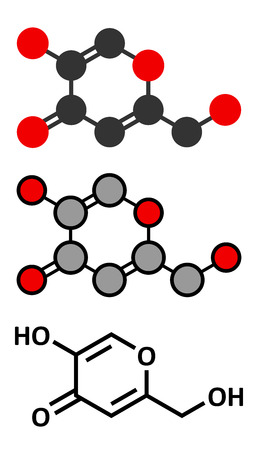 Kojic acid molecule. Used as food additive and for skin depigmentation in cosmetics. Conventional skeletal formula and stylized representations.