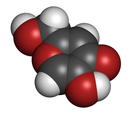 chelation: Kojic acid molecule. Used as food additive and for skin depigmentation in cosmetics. Atoms are represented as spheres with conventional color coding: hydrogen (white), carbon (grey), oxygen (red). Stock Photo