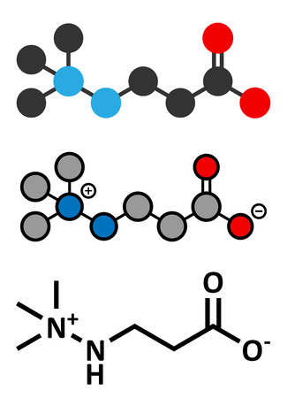 infarction: Meldonium anti-ischemic drug molecule. Used in treatment of angina and myocardial infarction. Conventional skeletal formula and stylized representations.