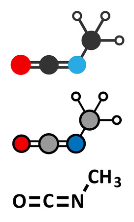 bhopal: Methyl isocyanate (MIC) toxic molecule. Important chemical that was responsible for thousands of deaths in the Bhopal disaster. Conventional skeletal formula and stylized representations.