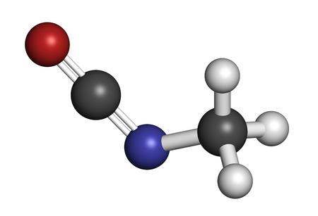 bhopal: Isocianato de metilo (MIC) mol�cula t�xica. Qu�mica importante que fue el responsable de miles de muertes en el desastre de Bhopal. Los �tomos se representan como esferas con codificaci�n de colores convencionales: hidr�geno (blanco), carb�n (gris), ox�geno (rojo), nitr�geno (azul) Foto de archivo