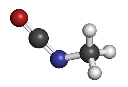methyl: Methyl isocyanate (MIC) toxic molecule. Important chemical that was responsible for thousands of deaths in the Bhopal disaster. Atoms are represented as spheres with conventional color coding: hydrogen (white), carbon (grey), oxygen (red), nitrogen (blue)