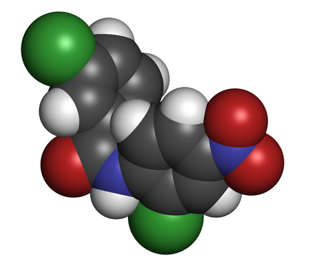 oxidative: Niclosamide tapeworm drug molecule (anthelmintic). May be useful as antidiabetic drug, acting as a mitochondrial uncoupler. Atoms are represented as spheres with conventional color coding: hydrogen (white), carbon (grey), oxygen (red), nitrogen (blue), ch Stock Photo