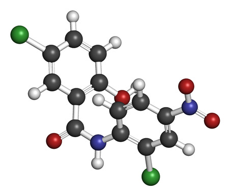 ch: Niclosamide tapeworm drug molecule (anthelmintic). May be useful as antidiabetic drug, acting as a mitochondrial uncoupler. Atoms are represented as spheres with conventional color coding: hydrogen (white), carbon (grey), oxygen (red), nitrogen (blue), ch Stock Photo
