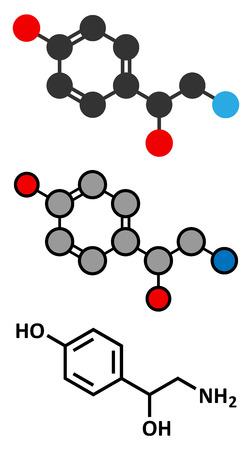 amine: Octopamine stimulant drug molecule (sympathomimetic agent). Conventional skeletal formula and stylized representations.