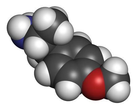 p-methoxyamphetamine (PMA) hallucinogenic drug molecule. Frequently leads to lethal poisoning when mistaken for MDMA (XTC, ecstasy). Atoms are represented as spheres with conventional color coding: hydrogen (white), carbon (grey), oxygen (red), nitrogen (