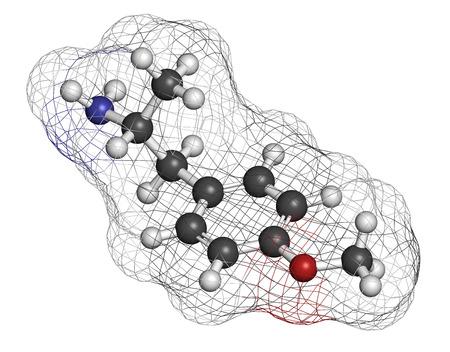 �xtasis: p-metoxianfetamina (PMA) mol�cula de la droga alucin�gena. Conduce con frecuencia a la intoxicaci�n letal cuando confundido con MDMA (XTC, �xtasis). Los �tomos se representan como esferas con codificaci�n de colores convencionales: hidr�geno (blanco), carb�n (gris), ox�geno (rojo), nitr�geno (