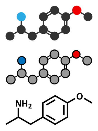 overheating: p-methoxyamphetamine (PMA) hallucinogenic drug molecule. Frequently leads to lethal poisoning when mistaken for MDMA (XTC, ecstasy). Conventional skeletal formula and stylized representations.