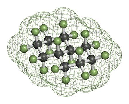 fluorine: Perfluorodecalin fluorocarbon molecule. Used as component of artificial blood and for liquid breathing. Atoms are represented as spheres with conventional color coding: carbon (grey), fluorine (light green).