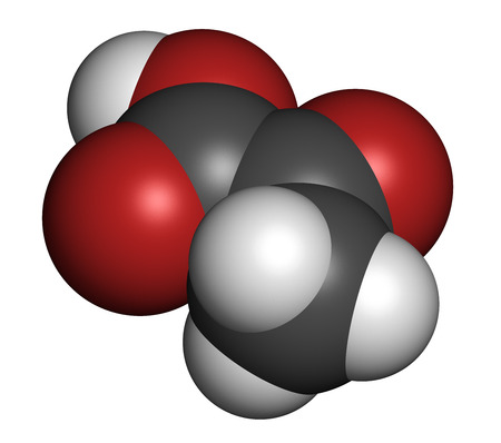 Pyruvic acid (pyruvate) molecule. Important intermediate in a number of biochemical processes. Atoms are represented as spheres with conventional color coding: hydrogen (white), carbon (grey), oxygen (red). photo