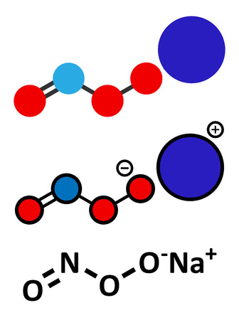 reactive: Peroxynitrite (sodium) reactive nitrogen species molecule. Formed by the reaction of the free radicals nitric oxide and superoxide in the human body. Conventional skeletal formula and stylized representations.