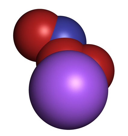 free radicals: Peroxynitrite (sodium) reactive nitrogen species molecule. Formed by the reaction of the free radicals nitric oxide and superoxide in the human body. Atoms are represented as spheres with conventional color coding: oxygen (red), nitrogen (blue), sodium (p