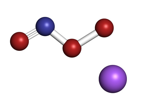 reactive: Peroxynitrite (sodium) reactive nitrogen species molecule. Formed by the reaction of the free radicals nitric oxide and superoxide in the human body. Atoms are represented as spheres with conventional color coding: oxygen (red), nitrogen (blue), sodium (p
