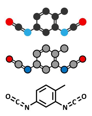 carcinogen: Diisocianato de tolueno (TDI, 2,4-TDI) mol�cula bloque de construcci�n de poliuretano. Puede ser un carcin�geno. F�rmula esquel�tico convencional y representaciones estilizadas.