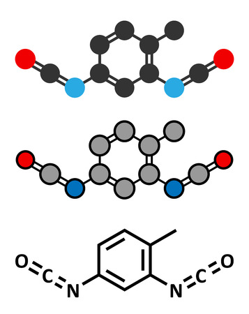 polyurethane: Toluene diisocyanate (TDI, 2,4-TDI) polyurethane building block molecule. May be a carcinogen. Conventional skeletal formula and stylized representations.
