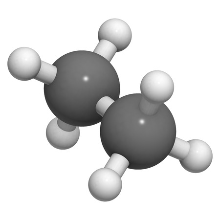 feedstock: ethane natural gas component, molecular model. Atoms are represented as spheres with conventional color coding: hydrogen (white), carbon (grey)